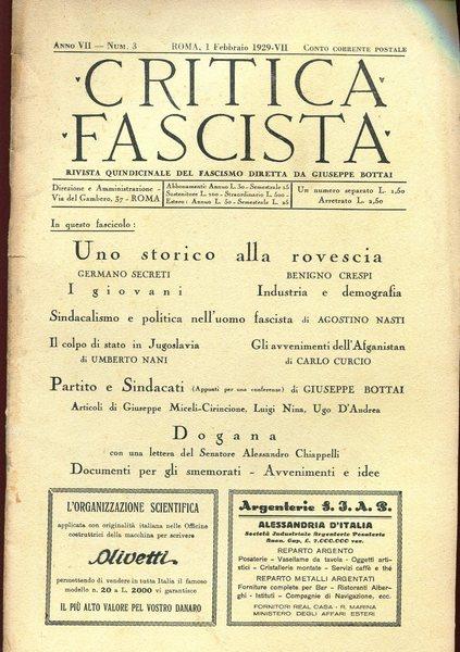 Critica Fascista, rassegna quindicinale diretta da Bottai